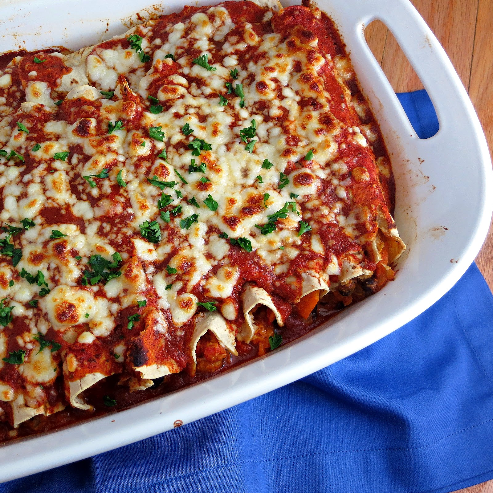 Sweet Potato and Black Bean Enchiladas - Alida's Kitchen