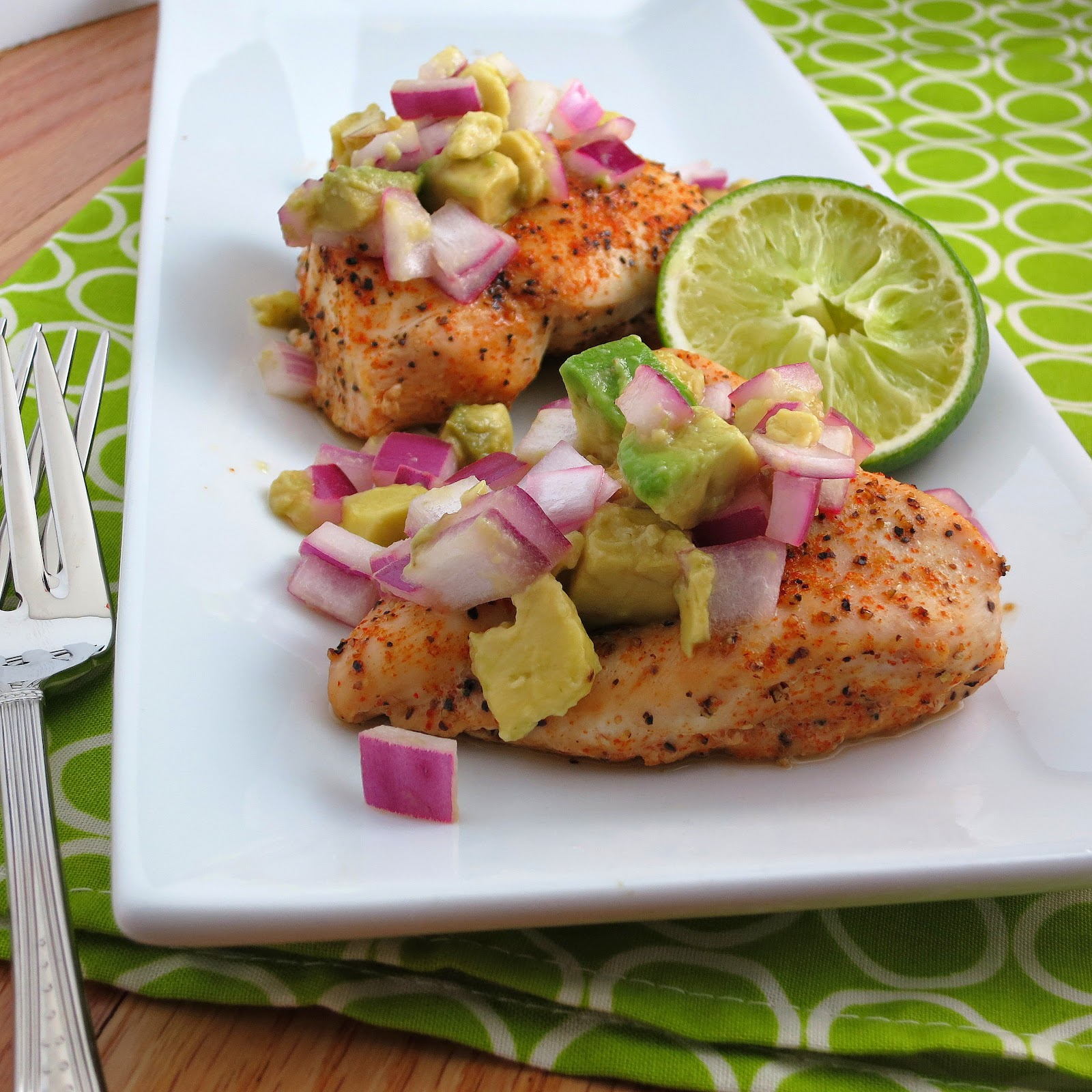 Baked Cayenne-Rubbed Chicken with Avocado Salsa - Alida's Kitchen