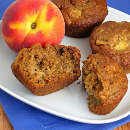healthy buttermilk oatmeal peach muffins