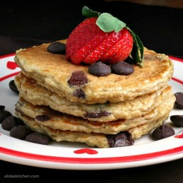 Oatmeal Chocolate Chip Pancakes | alidaskitchen.com #BakeWithGhirardelli #CleverGirls #spon