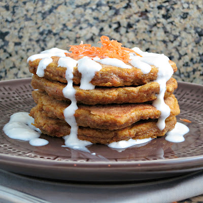 healthy carrot cake buttermilk pancakes with cream cheese glaze