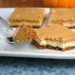 Pumpkin Cheesecake Bars...made on the lighter side!  from Alida's Kitchen