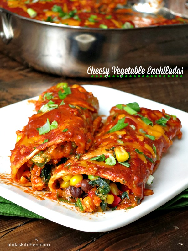 Cheesy Vegetable Enchiladas are stuffed with black beans, corn ...
