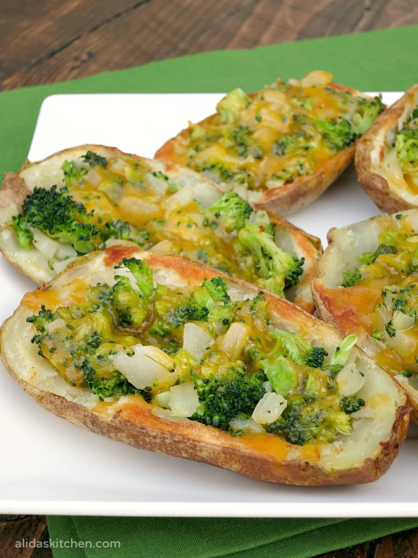 Broccoli Cheddar Stuffed Potato Skins #SundaySupper - Alida's Kitchen