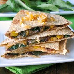 Black Bean Spinach Baked Quesadillas | alidaskitchen.com